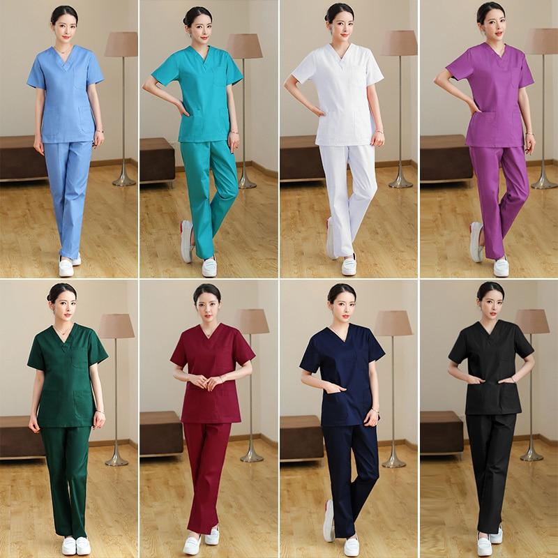 Hospital Doctors Medical Sets Short-sleeved Uniforms Suits Dental Clinic Beauty Salon Workwear Clothes Nursing Scrubs Tops Pants