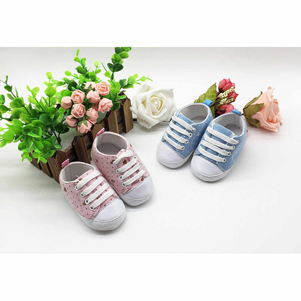 2019 Newborn Baby Dot Love Baby Girl Anti-slip Soft Canvas Shoes Print Casual Slip-on Baby Fashion Shoes Newborn Hot Sale