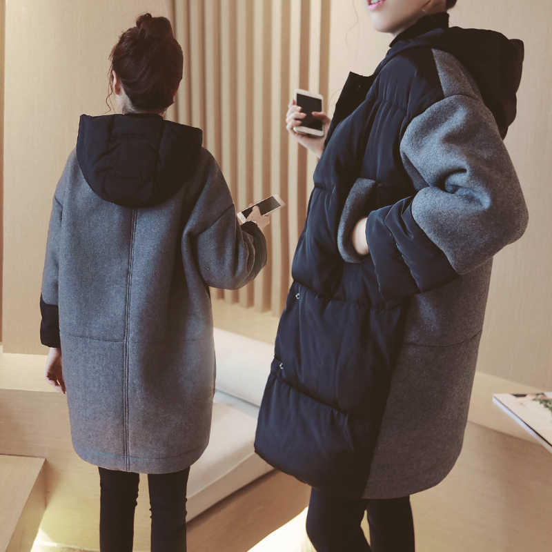8222# Autumn Winter Korean Fashion Maternity Coats Cotton-padded Patchwork Loose Outwear for Pregnant Women Pregnancy Jackets