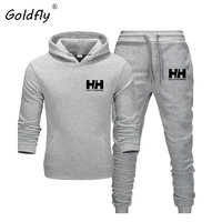 Goldfly print Tracksuit Fashion Men Brand HH Sportswear 2 Piece Sets All Cotton Fleece Thick hoodie+Pants Sporting Suit
