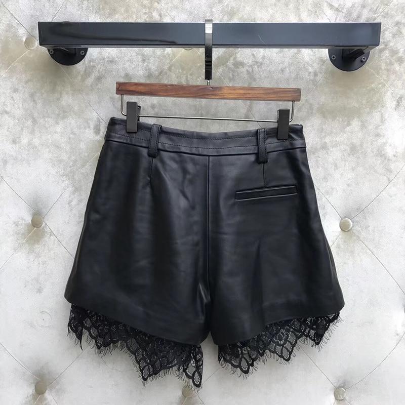 Shorts Women Loose 2019 Summer High Waist Leather Shorts Casual Lace Wide Leg Black Women Shorts