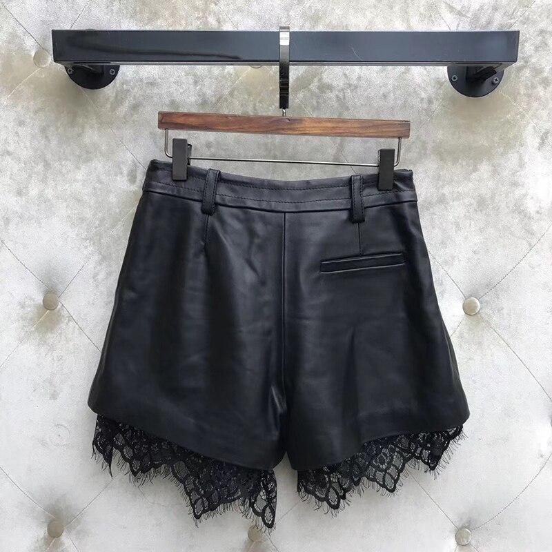 Shorts femmes lâche 2019 été taille haute en cuir Shorts décontracté dentelle jambe large noir femmes Shorts