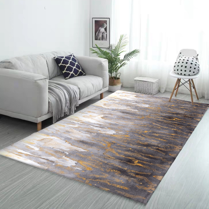 Creative Abstract Carpet And Rug Living Room Home Decor Bedroom Sofa Coffee Table Gold Gray  Floor Mat Thicken Study Room Tapete