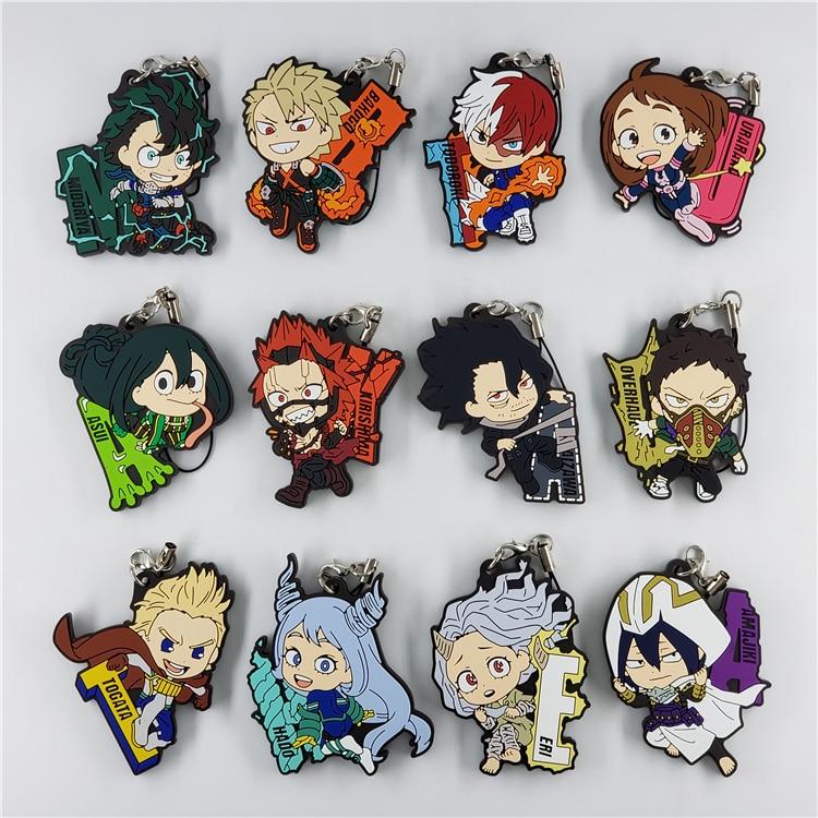 My Hero Academia Anime Boku No Hero Academia Bakugo Eijiro Uraraka Amajiki Eri Overhaul Aizawa Todoroki Togata Rubber Keychain