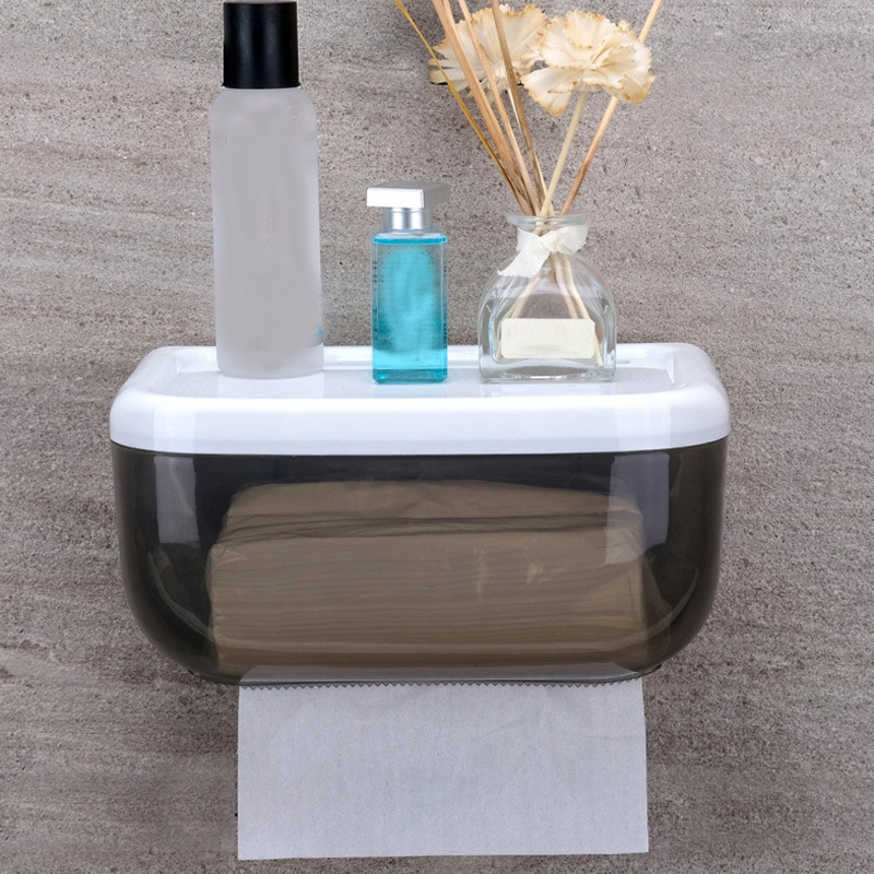 Wall-Mounted Tissue Box Bathroom Waterproof Toilet Paper Holder Punch-Free