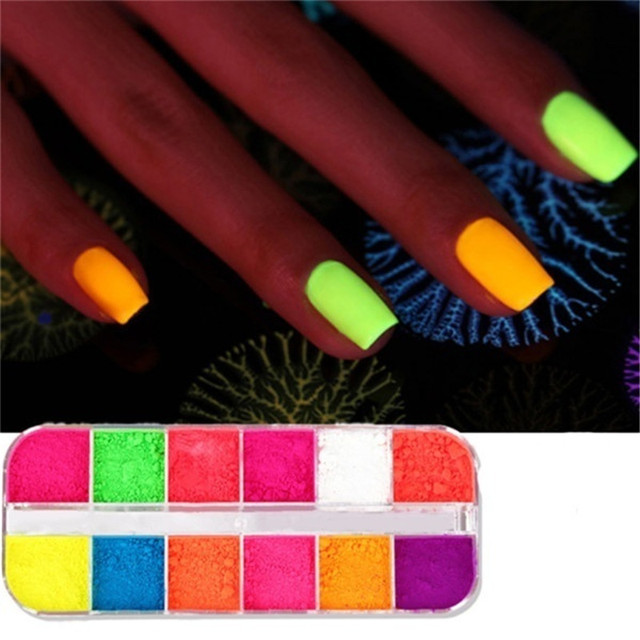 12 Colors/Box Fluorescent Neon Pigment Eye Shadow Makeup Palette Glitter Shimmer Eyeshadow Face Body Nail Art Cosmetics Tools 4