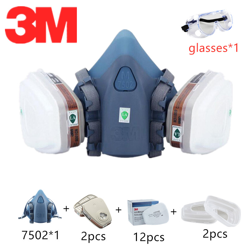 3M Gas Respirator Mask Paint 6200/7502 With 3M Carbon Cartridge 6001 For Organic Gases 10pcs Dust Cotton Protective Glasses