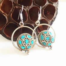 E126 индийские винтажные красочные серьги ручной работы Медные инкрустированные красочные каменные дубель круги