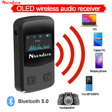 Nsendato Bluetooth 5.0 Wireless Audio Receiver Adapter With OLED Display Music Streaming Adapter 3D Surround For Aux Home Stereo