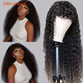 Малазийские кудрявые парики MIRONICA из человеческих волос с челкой 99j #4 T1b/30, парики из человеческих волос с эффектом омбре для чернокожих женщи...