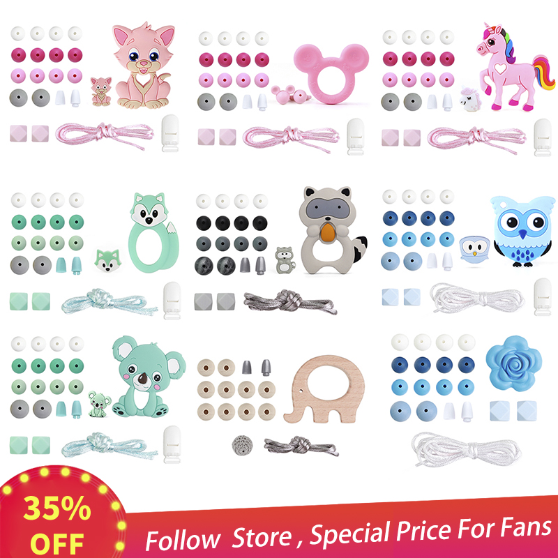 Silicone Teether Wood Beads Set BPA Free DIY Baby Teething Necklace Toy Cartoon Koal Owl Fox Rose Pacifier Chain Clip Nylon Rope