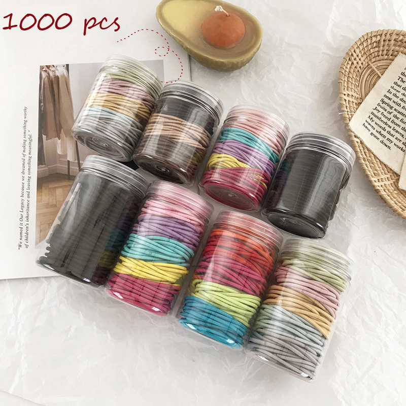 1000pcs Woman Solid Elastic Hairband Candy Color Rubber Bands Hair Ties Girls Hair Accessories Ornament Headwear Hair Rope Gum