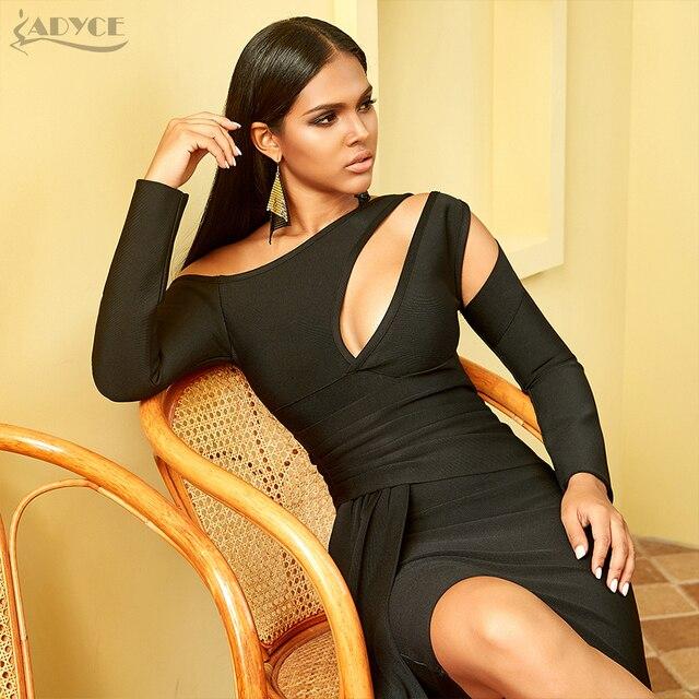 Adyce 2020 nouveau hiver à manches longues robe de pansement femmes Sexy évider une épaule Mini noir Club célébrité soirée robe de soirée
