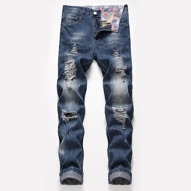 Jeans   Men's 2019 Spring New Style Straight-Cut Loose And Plus-sized with Holes MEN'S   Jeans   Europe And America Foreign Trade menj