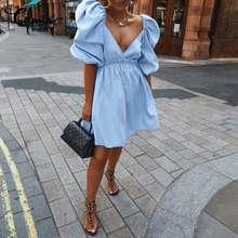 2021 Summer Sexy Deep V Neck Short Puff Sleeve Mini Dress Celmia Women Casual Party Sundress Slim Pleated Streetwear Vestidos