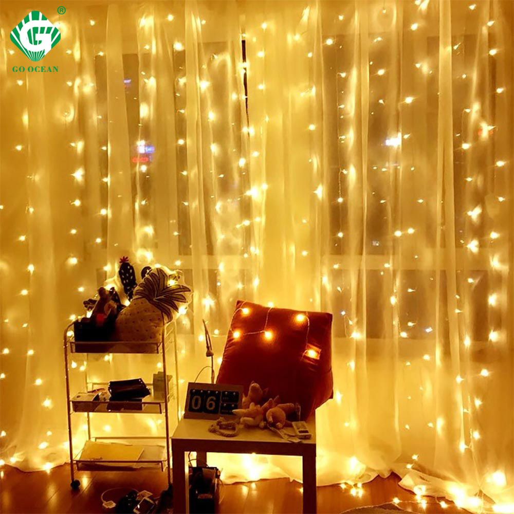 Window String Light Curtain Icicle Drop Remote Control 220V 230V 240V Waterproof Indoor Wedding Garland Fairy