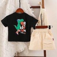 Baby Boys Casual Cartoon Tshirt Sets Summer O neck Short Sleeve Clothes Set Cotton Toddler Baby Boy Clothing Set 2PCS