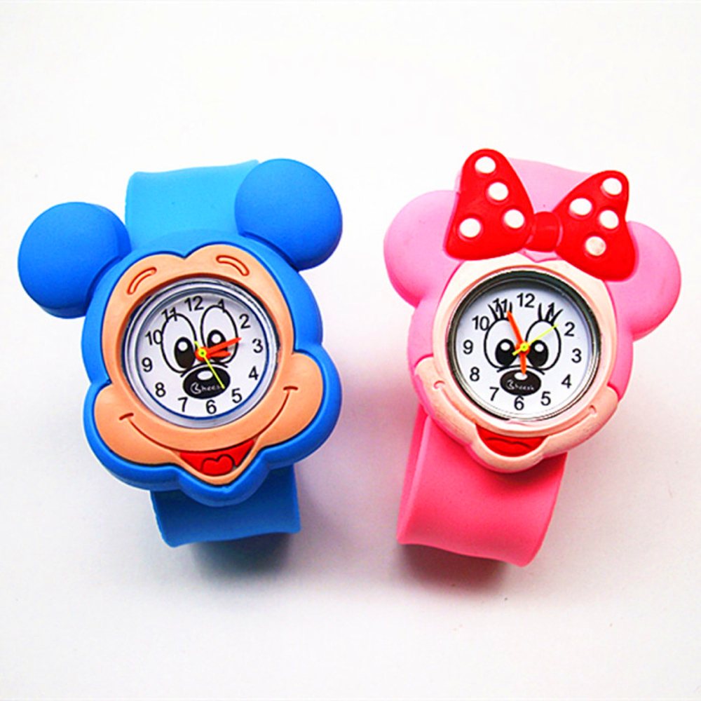 1 Pcs Mickey/Minnie Shape Children Watches Kids Wrist Quartz Watch Silicone Strap Cute Cartoon Style Fashion Baby Birthday Gift