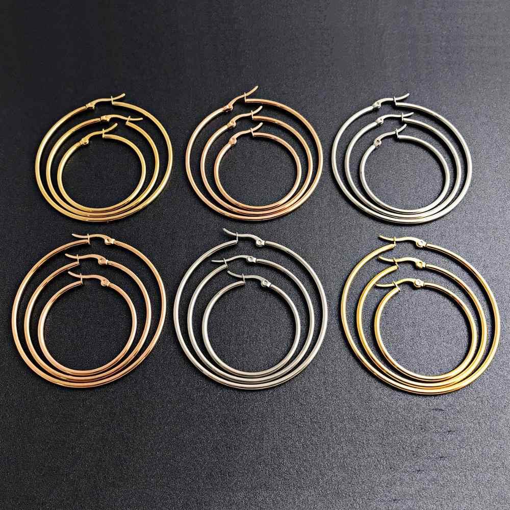แฟชั่นขนาดใหญ่ Hoop ต่างหู Big Smooth Circle ต่างหู Hoops รอบหูแหวนสแตนเลสสตีล Huggie ต่างหูสำหรับสตรี