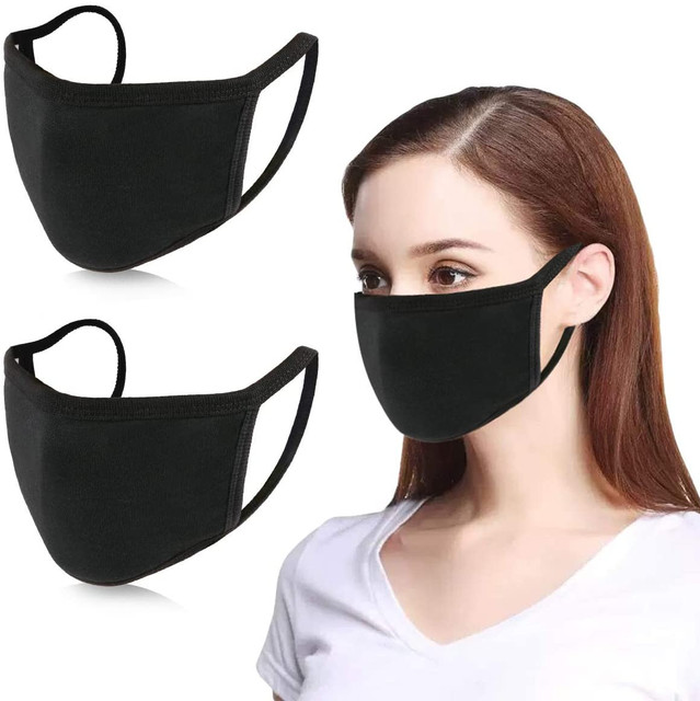 #H30 2 pcs Black Anti Dust Masks Reusable Washable Cotton Breathable Safety Mouth Mask Respirator For Outdoor Cycling Women Men