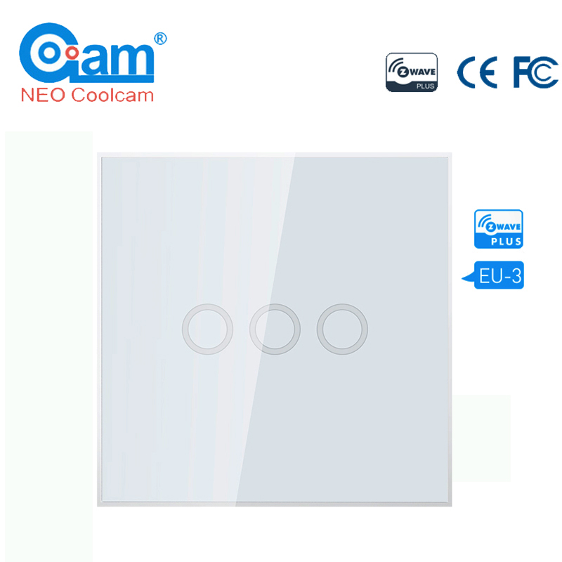 NEO COOLCAM 3CH Z-wave Plus Wall Light Switch 3 Gang Home Automation Wall Light Switch Touch Control Remote Control EU 868.4MHZ