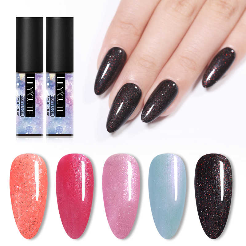 Lilycute 5 Ml Berwarna Merah Muda Hitam Payet Gel Cat Kuku Hologram Warna Gel Varnish Rendam Off Paku Seni Sinar UV Gel Panjang tahan Lama Manikur Nai