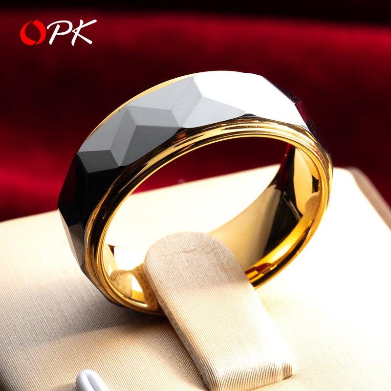 Marque hommes bijoux tungstène or hommes anneau marque de mode ins hip hop unique noble anneau large personnalité simple queue anneau tiff