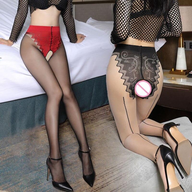 Jacquard Open Crotch Tights For Sex Transparent Underwear Retro Cuban Heel Back Line Stockings 10D Ultra Thin Nylon Pantyhose