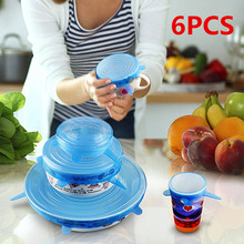 6pcs Reusable Silicon Stretch Kitchen Cover Universal Lid Silicone Food Wrap Bowl Pot Lid Silicone Cover Pan Cooking Kitchen Cap