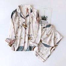 Primavera/verão 2020 novo 100% viscose calças de manga comprida senhoras pijamas terno estilo simples longo pijamas feminino serviço de casa