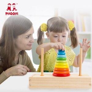 Image 2 - Hanoi Turm Kinder Pädagogisches Spielzeug Holz Frühen Lernen Klassische Mathematische Puzzle Spielzeug für Kinder