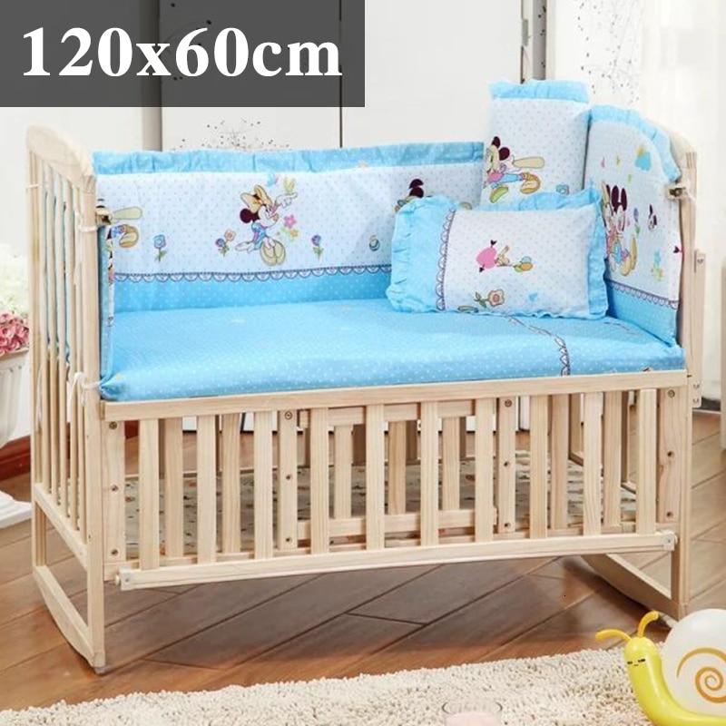 5 шт. натуральный хлопок детское постельное белье Комплект для бампера мягкий съемным моющимся коляска для новорожденных Детское постельное белье детская кроватка бампер детская комната с декором на утолщенной - Цвет: bluemickey 120x60cm