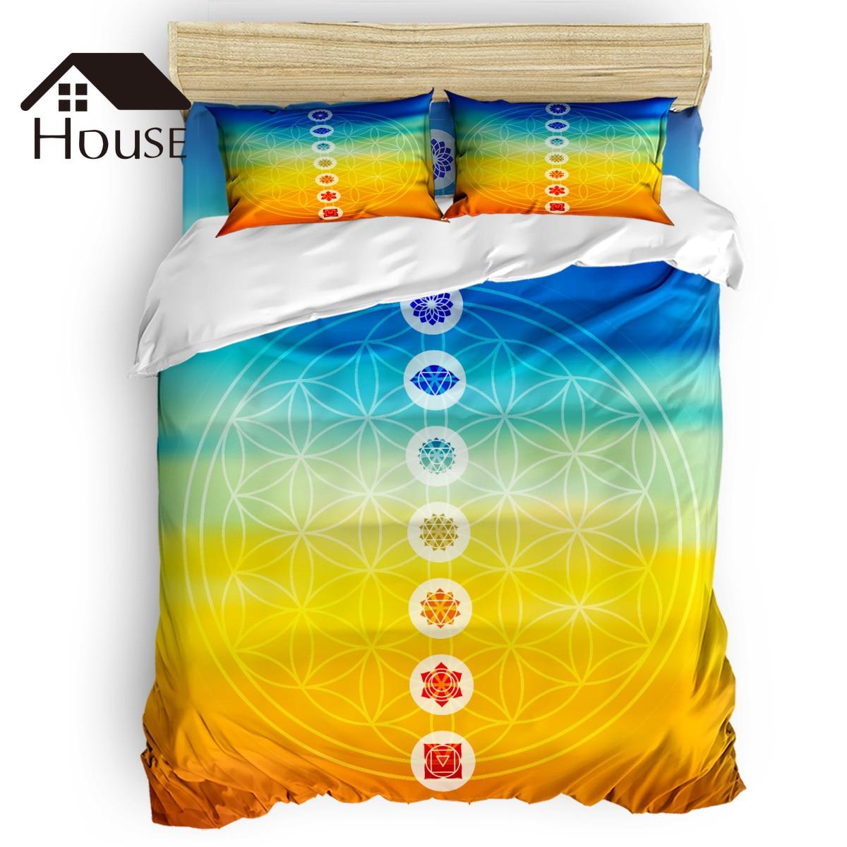 Gradient Toned Chakra Centers Spiritual Power Universe Harmony Religious Design Duvet Cover 4 Piece Bedding Set