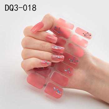 14pcs/sheet Glitter Gradient Color Nail Stickers Nail Wraps Full Cover Nail Polish Sticker DIY Self-Adhesive Nail Art Decoration 46