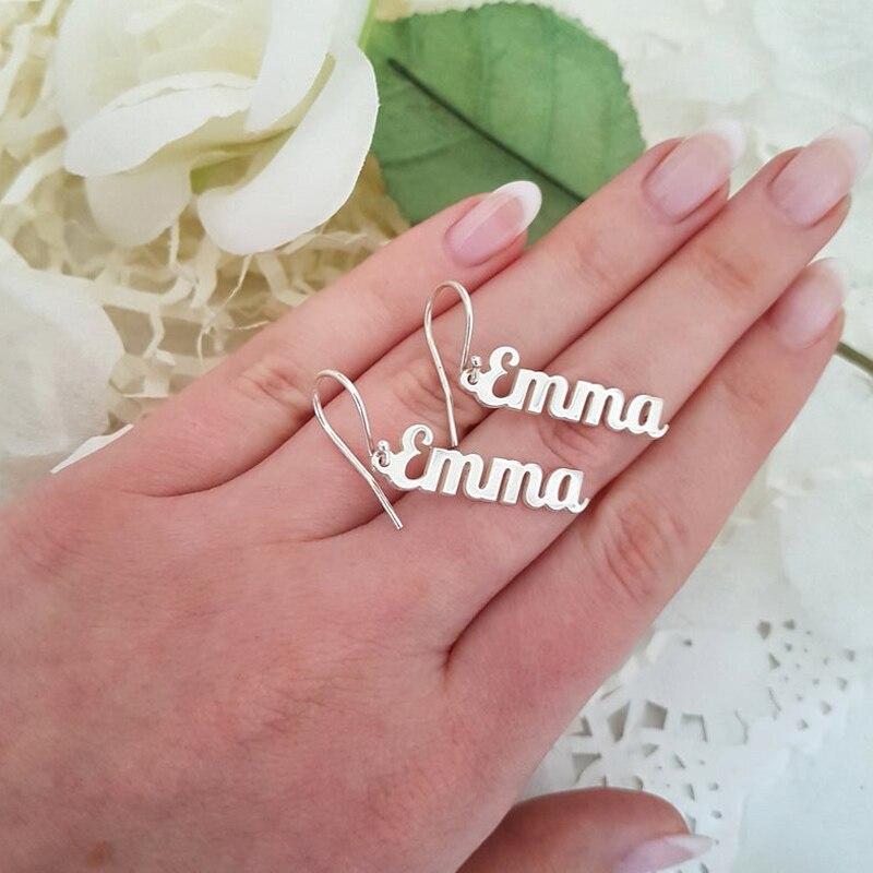 Stainless Steel Personalized Vertical Name Earrings Kolczyki Oorbellen Earring Custom Earrings For Women Jewelry Aretes De Mujer