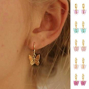 2020 Trend nowe kolczyki motylkowe różowe złoto damskie stalowe kolczyki europejskie i amerykańskie kolczyki motylkowe tanie i dobre opinie STAINLESS STEEL CN (pochodzenie) TRENDY Zwierząt Metal Kobiety Butterfly earrings Retro European and American Alloy Women Girls