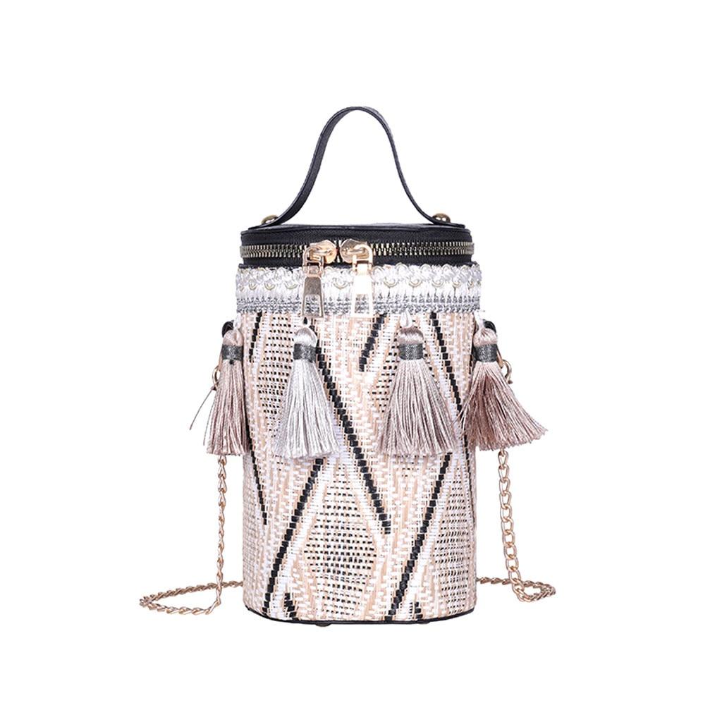 Осенняя модная новая сумка, Высококачественная соломенная сумка, женская сумка, круглая Сумка тоут, ручное металлическое кольцо, кисточка, цепь, сумка для путешествий Сумки с ручками      АлиЭкспресс