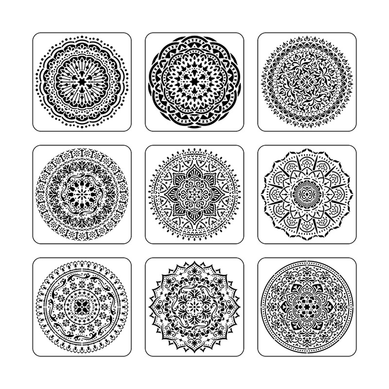 9pcs/set Mandala 15 *15cm  Mold DIY Home Decoration Drawing Template Laser Cutting Wall Template Painting Tile Tiles Stencil