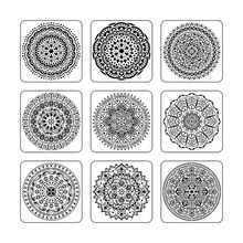 9pcs/set Mandala 15 *15cm  mold DIY home decoration drawing template laser cutting wall painting tile tiles stencil