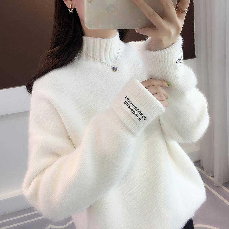 Surmiitro 밍크 캐시미어 니트 스웨터 여성 터틀넥 가을 겨울 2020 긴 소매 점퍼 한국어 숙녀 풀오버 여성