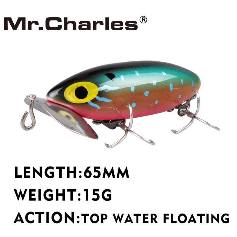 Mr.Charles CMCS124 1 Pcs Fishing Lure 65mm 15g Top Water Floating Popper Hard Baits Quality Professional Lures Fishing Tackle