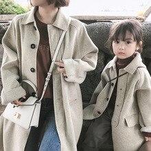 Однотонное детское шерстяное пальто для девочек, Осеннее зимнее пальто от 3 до 10 лет, детская Длинная ветровка, верхняя одежда