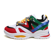 2019 Women Casual Shoes Leather Dad Platform Chunky Sneakers comforteble Flat Th