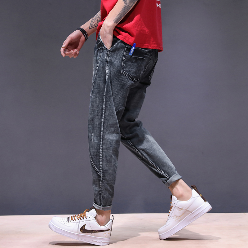 KSTUN haren jeans men motorcycle jeans streetwear drawstring elastic waist loose feet Pants outdoor leisure riding jeans joggers 13