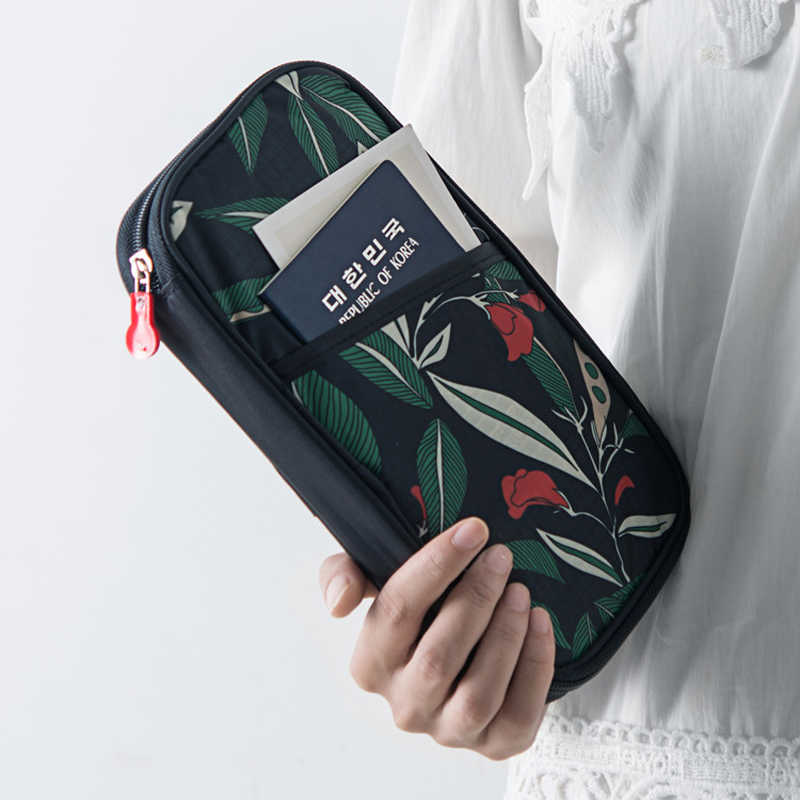 ארגונית דרכון ארנקים נסיעות ארנק ארנק עם רצועת יד סגירת רוכסן, דרכון כרטיס אשראי מזהה כרטיס מחזיק מזומנים מקרה Z-90