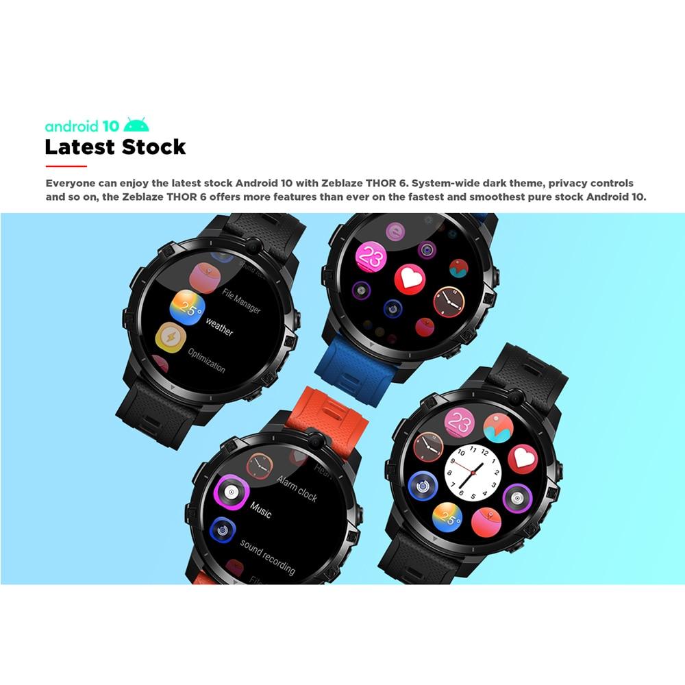Смарт-часы Zeblaze THOR 6 SIM-карт, 1,6 дюйма, 4 + 64 дюйма, с большой памятью, процессор Helio P22, часы с камерой, водонепроницаемые, спортивные, многофункциональные 3