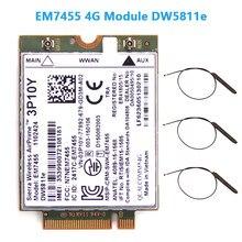Inalámbrico EM7455 LTE 4G NGFF para DW5811E 3P10Y 300 M para E7270 E7470 E7370 E5570 Sem Fio FDD/TDD LTE 4G Cat6 Gobi6000 + ANTEN