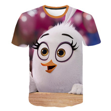 Children Game Summer shirts Cartoon Bird short Sleeve shirt Angry Young Boy Funny Anime Movie Clothes 3D Child