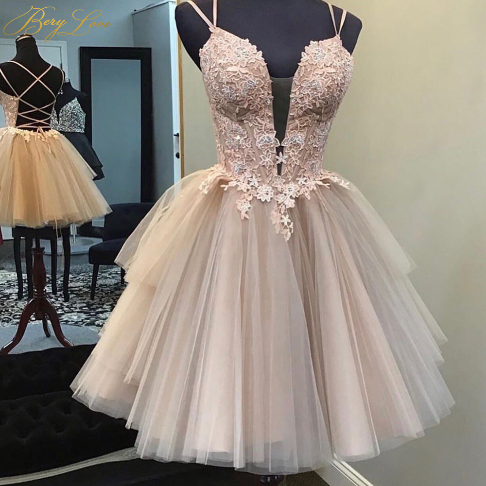 Nice Bodice Cutting Spaghetti Straps Homecoming Dress 2020 Pink Arching Waist Vestidos De Graduacion Short Cute Tulle Dress