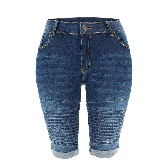 Denim Bermuda Shorts Donne di Mezza Vita di Lunghezza Del Ginocchio Elastico Shorts Estate Curvy Stretch Moto Brevi Dei Jeans Dei Pantaloni 1